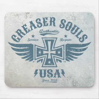 Greaser Biker Iron Cross & Wings Motorcycle Emblem Mouse Pad