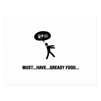 Greasy food lover postcard