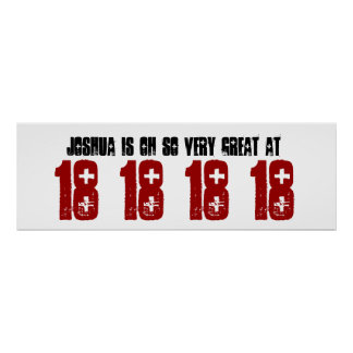 Great 18th Birthday Party Banner Custom Name Poster