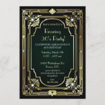 """Great 30th Birthday Invitation<br><div class=""""desc"""">Throw a stunning Roaring 20's party with our Great Invitations. Perfect for a speakeasy celebration with a black background and beautiful gold art deco accents and jewel look stones. It will make your Great party one to remember. Customize with your choice of wording. Find matching stationery and party supplies at...</div>"""