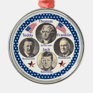 Great American Presidents Round Metal Christmas Ornament