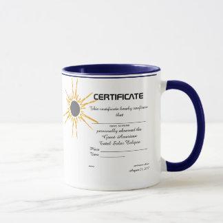 Great American Solar Eclipse observer certificate Mug
