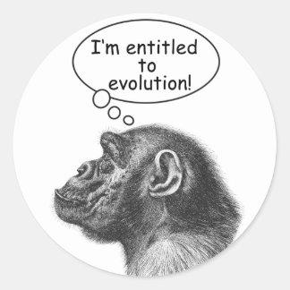 Great Ape Evolution Entitlement Round Sticker