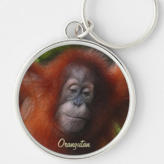Great Apes Orangutan Primate Wildlife-lovers Gift Silver-Colored Round Keychain
