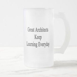Great Architects Keep Learning Everyday Frosted Glass Beer Mug