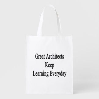 Great Architects Keep Learning Everyday Reusable Grocery Bag