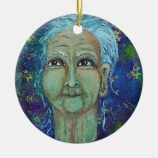 Great Auntie Ebb Round Ceramic Ornament