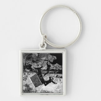 Great Balloon Accident Vintage Victorian Silver-Colored Square Keychain