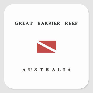 Great Barrier Reef Australia Scuba Dive Flag Square Sticker