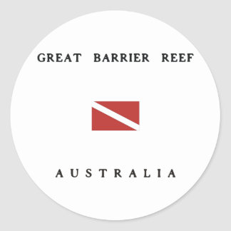 Great Barrier Reef Australia Scuba Dive Flag Round Stickers