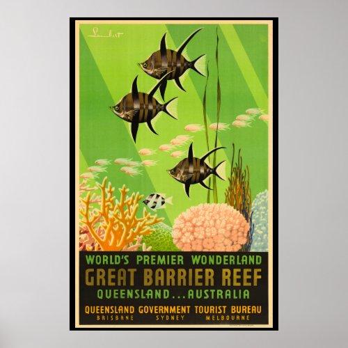 Great Barrier Reef Australia Vintage Poster