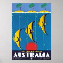 Great Barrier Reef Australia Vintage Travel Poster
