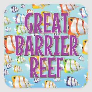 Great Barrier Reef cartoon travel poster Square Sticker