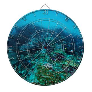Great Barrier Reef Tropical Fish Coral Sea Dartboard With Darts