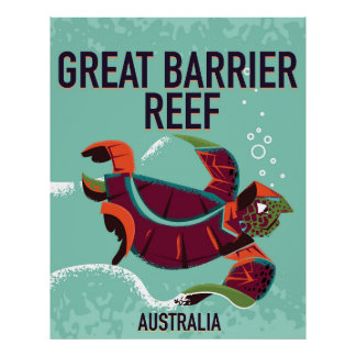 Great Barrier Reef vintage travel poster. Poster