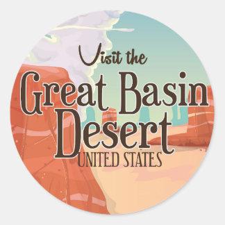 Great Basin Desert vintage travel poster. Classic Round Sticker