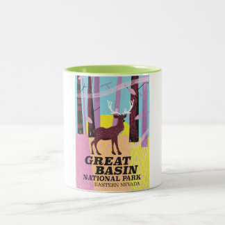 Great Basin National Park vintage travel poster Two-Tone Coffee Mug
