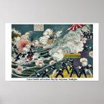 Great battle at Lushun Bay by Ariyama, Sadajiro Posters