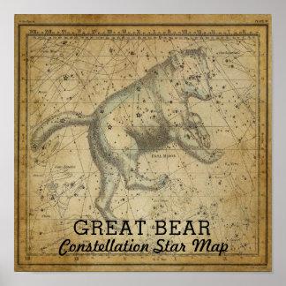 Great Bear Ursa Major Constellation Star Map Poster