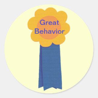 Great Behavior Yellow Flower Blue Ribbon Stickers