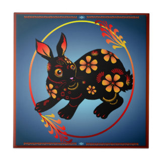 Great Black Bunny.  Happy Year Of The Rabbit. Tile