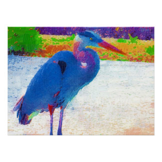Great blue heron abstract poster