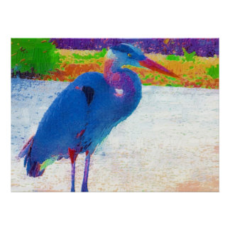 Great blue heron abstract print