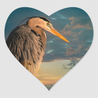 Great Blue Heron and Blue Sunset Heart Sticker