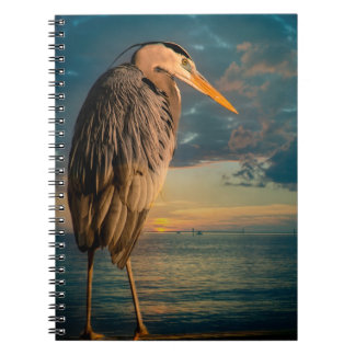 Great Blue Heron and Blue Sunset Spiral Note Book