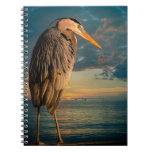 Great Blue Heron and Blue Sunset Spiral Notebook