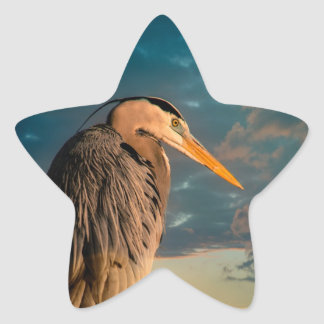 Great Blue Heron and Blue Sunset Star Sticker