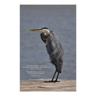 Great Blue Heron and Lake with Life Quote Poster