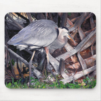 Great Blue Heron and Palm Tree Mouse Pad
