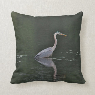 Great blue heron and reflection throw pillow