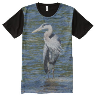 Great Blue Heron and Water Wildlife Art All-Over-Print T-Shirt