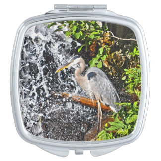 Great Blue Heron and Waterfall Wildlife Scene Vanity Mirror