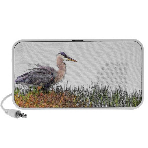 Great Blue Heron Art Doodle Speaker