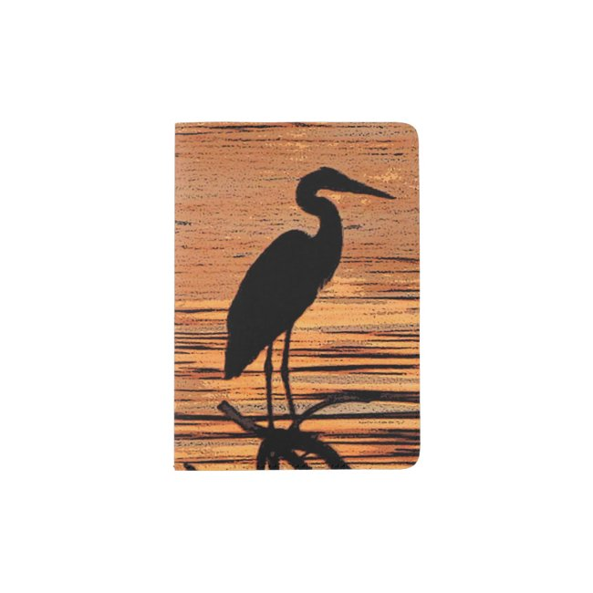 Great Blue Heron at Orange Sunset Passport Holder