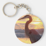 Great Blue Heron at Sunset Basic Round Button Keychain