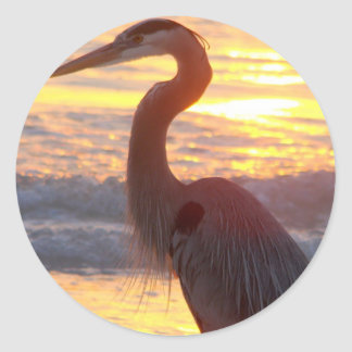 Great Blue Heron at Sunset Classic Round Sticker