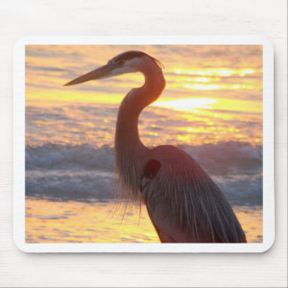 Great Blue Heron at Sunset Mouse Pad