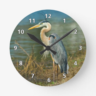 Great Blue Heron at the Pond Clock