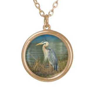 Great Blue Heron at the Pond Gold Plated Necklace