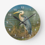 Great Blue Heron at the Pond Round Wall Clock