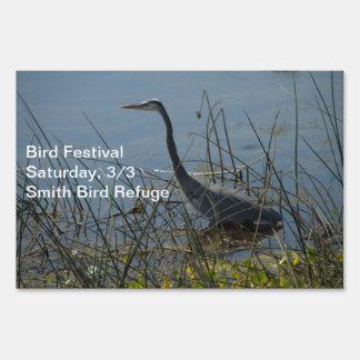 Great Blue Heron at Viera Wetlands Signs