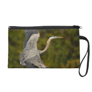 great blue heron wristlet clutch