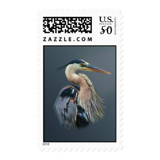 Great Blue Heron Bird at the Pond Postage