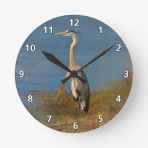 Great Blue Heron Bird at the Pond Round Clock