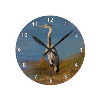 Great Blue Heron Bird at the Pond Round Clock
