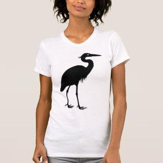 Great Blue Heron Bird Black Silhouette T-Shirt